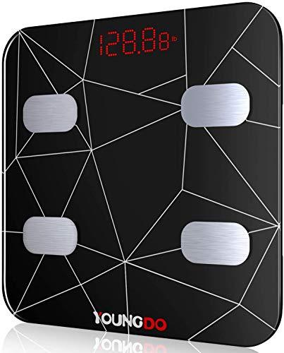YOUNGDO Báscula Grasa Corporal 30*30, Báscula Baño Digital Bluetooth Inteligente Con USB Carga 23 Medidas Corporales Esenciales Grasa Corporal, Músculo, BMI etc. 999 Usuarios para Android e iOS