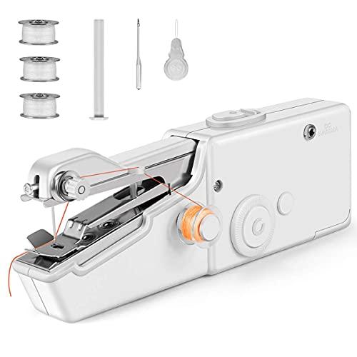 Máquina de coser de mano, mini máquina de coser portátil para principiantes, máquina de coser eléctrica inalámbrica con accesorios de costura para ropa, cortinas, manualidades, reparación del hoga