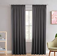 2 Panels Blackout Curtains Soft Solid Thermal Insulated Pencil Pleat Drapes Window Treatment Noise R...