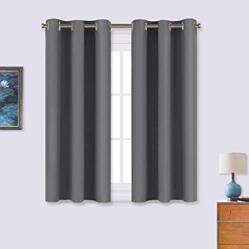NICETOWN Grey Blackout Curtain Panels for Bedroom, Thermal Insulated Grommet Top Blackout Draperies and Drapes for Basement (2 Panels, W34 x L45-inch, Grey)