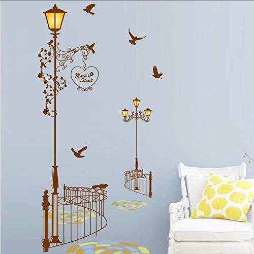 Straßenlaterne Zaun Vogel Wandaufkleber Mode Home Decoration Wohnzimmer Korridor Wandtattoo PVC Abnehmbarer Aufkleber