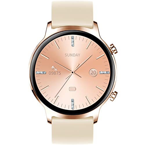 Smartwatch Donna, Orologio Fitness Tracker Impermeabil IP68 Cardiofrequenzimetro Sonno salute delle donne Controllo Musica Contapassi Cronometro Notifiche Messaggi Interfacce Personalizzate