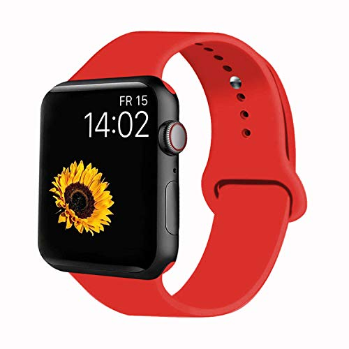 VATI Sport Band Compatible for Apple Watch Band 42mm 44mm, Soft Silicone Sport Strap Replacement Bands Compatible with 2019 Apple Watch Series 5, iWatch 4/3/2/1, 42MM 44MM M/L (Red)