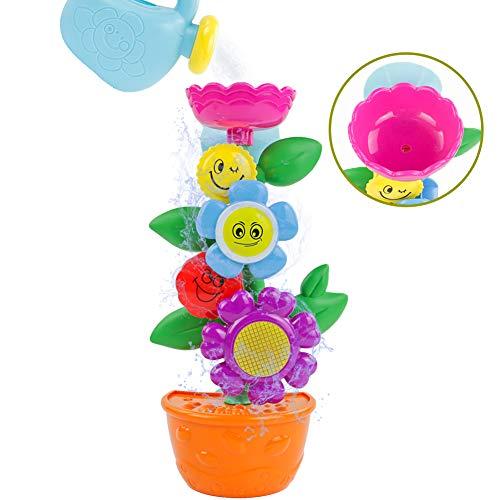 Symiu Baby Badewannenspielzeug Set Wasserspielzeug Blume Wassermühle Gießkanne Badespielzeug Geschenk für ab 1 2 3 Jahren Kinder Mädchen Junge