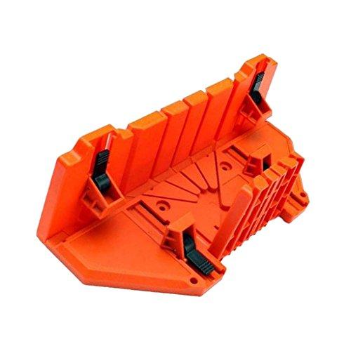 SNOWINSPRING Gabinete Caja de Sierra de Inglete Multifuncional Guia de Sierra de 0/22.5/45/90 Grados Carpinteria - Naranja, 14 Pulgadas Con Abrazadera