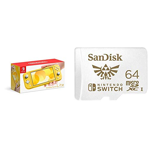 Nintendo Switch Lite - Yellow with SanDisk 64GB MicroSDXC UHS-I Card for Nintendo Switch