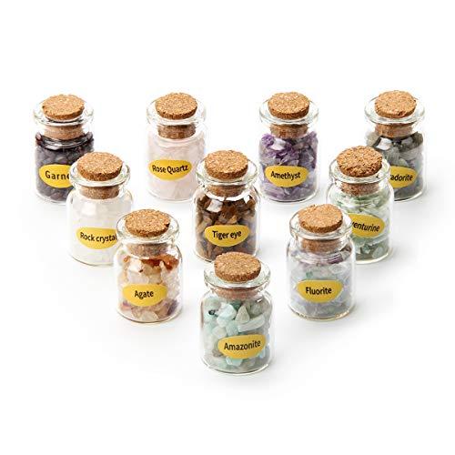 10 Mini-Kristallstein-Flaschen, Trommelsteine, Wunschflasche, Heilstein-Set für Schmuckherstellung, Heimbüro-Dekoration