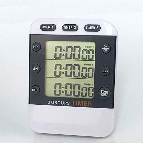 genral Timer da Cucina Digitale Timer elettronico Timer da Triplo Conto alla rovescia Timer Multifunzione Cronometro da Cucina Timer da Cucina con Ampio Display LCD Life Timer (Colore: Bianco, Dime