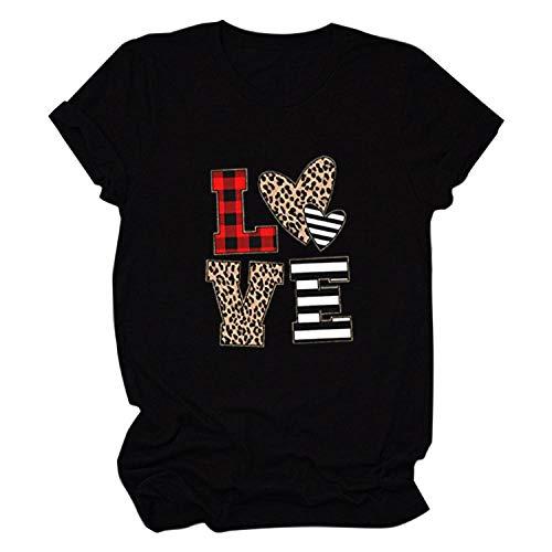 Camiseta Mujer Ropa Dama Tees Impresión Gráfica Love Sweet Valentine Tops Mujer Camiseta para Mujer Aplicar Al Ejercicio De Uso Diario Correr Ciclismo Gimnasio Etc-BK_L2