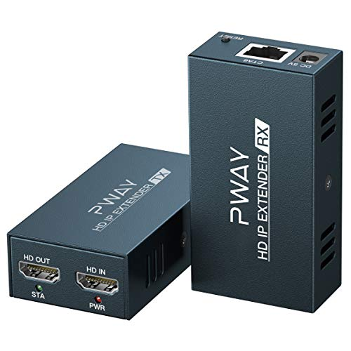 PW-DT236 Extensor HDMI sobre IP 150m/492ft Transmisión a Través del Cable de Red Cat5e/6/7/8 Soporte de Bucle Local y Transmisión de 1 a Múltiple a Través del Conmutador de red