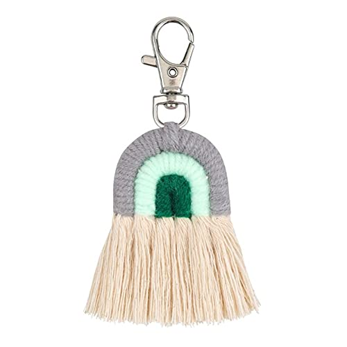 TRSX Weben Regenbogen Schlüsselanhänger Schlüsselring Für Fliesen Schlüsselanhänger Handgefertigte Schlüsselhalter Charme Auto Hängen Schmuck Geschenke (Color : KEY77)