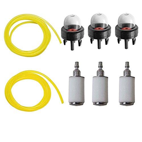 Carkio Filtres à carburant avec ampoules d'amorçage et conduites de carburant de 3 m Compatible with débroussailleuse Poulan Weedeater Craftsman Stihl Echo