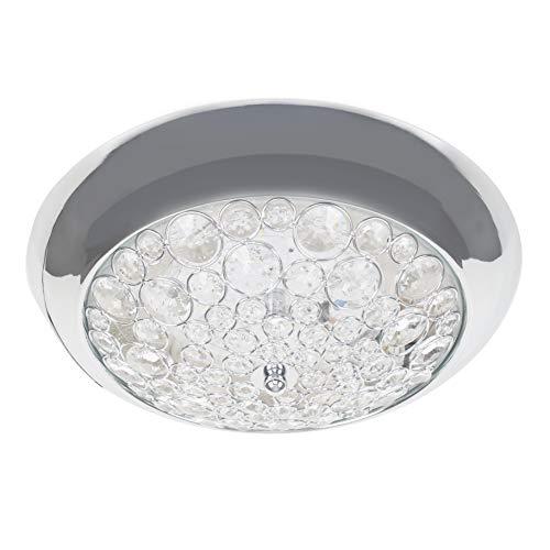 Lámpara de techo de baño con diseño de cristal K5 de cromo pulido con certificación IP44, 6500 K, color blanco frío