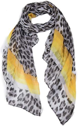 Dielay Dames Sjaal met Dierenprint Regenboog Panterprint - 180x90 cm