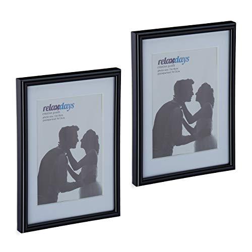Relaxdays Bilderrahmen 2er Set, 13x18 cm, Passepartout 9x13 cm, Glasscheibe, Fotorahmen zum Stellen & Hinhängen, schwarz