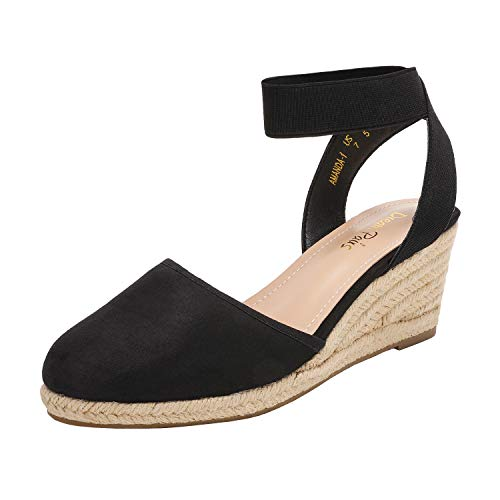 DREAM PAIRS Women's Black Closed Toe Elastic Ankle Strap Espadrilles Wedge Sandals Size 8 M US Amanda-1