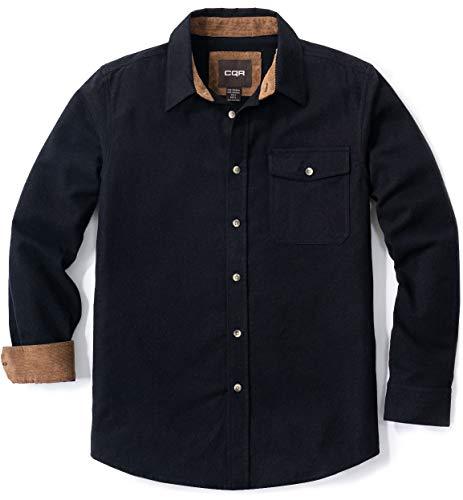 CQR Camisa de manga larga de franela para hombre, cómoda camisa de algodón a cuadros, Hombre Niños Unisex niños, Hof113 1pack - Black, extra-large