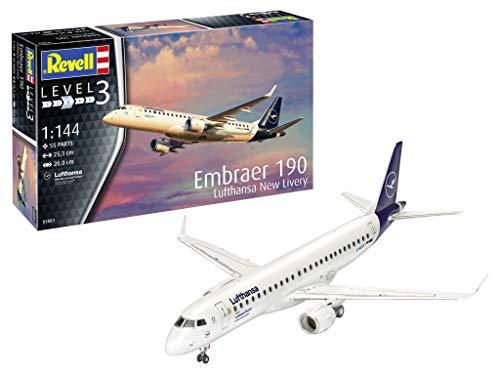 Revell 03883 1:144 Embraer 190 Lufthansa New Livery Plastic Model Kit, Multicolour (Revell 03883 3883)
