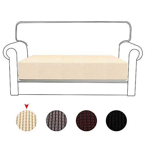 Julycoolmall Funda de asiento de sofá de alta elasticidad, reversible, protector de cojín, protector de muebles para sofá con parte inferior elástica (crema, 2 asientos-1 unidad)