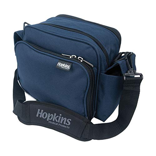 Hopkins Medical Products Mini Home Health Shoulder Bag, 600D Waterproof Material, Fold-Down Compartment, Adjustable Straps, Reinforced Bottom, 10 Inch x 7 Inch x 9.5 Inch, Navy Blue
