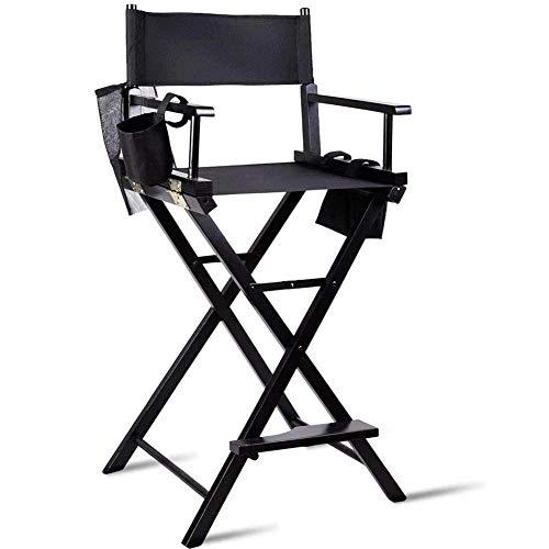 Regiestuhl Gartenstuhl,Klappstuhl Stuhl,Make-up Stuhl, Faltstuhl mit Seitentaschen, schwarz Campingstuhl