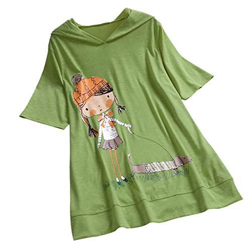 VEMOW Camiseta de Manga Corta con Capucha y Estampado de Dibujos Animados Casual para Mujer tamaño Extra Top Blusa(Verde,L)