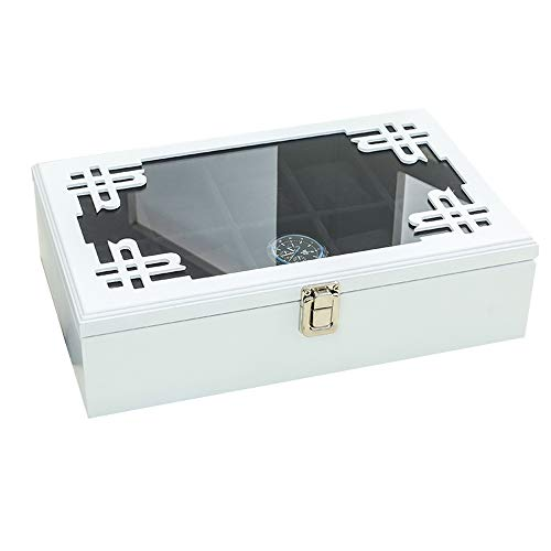 Diez piezas de vidrio techo corredizo de madera caja de reloj retro...