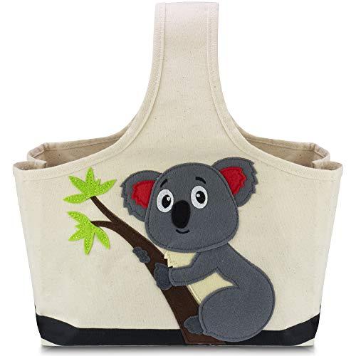 Lifeney Aufbewahrungstasche Kinder 28 x 23 x 15 cm I Baumwolle Wickeltisch Organizer und Innen wasserabweisende Polyethylen-Beschichtung I Korb für das Kinderzimmer, das Bad oder unterwegs (Koala)