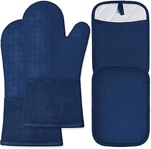 HOMWE Silicone Oven Mitts and Pot Holders 4 Piece Set Heavy Duty Cooking Gloves Soft Cotton product image