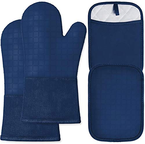 HOMWE Silicone Oven Mitts and Pot Holders 4-Piece Set Heavy Duty Cooking Gloves Soft Cotton Terry Pot Holders Advanced Heat Resistance Non-Slip Textured Grip Navy Blue