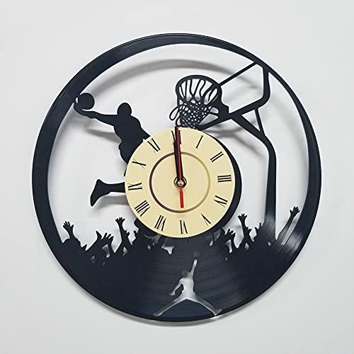 Regalos reloj de pared de disco de vinilo reloj de pared reloj de pared de silencio creativo reloj de pared de baloncesto Deportes de la serie LED para los amigos que como Jordan,No led light