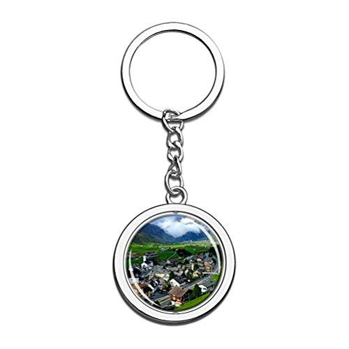 Alps Italia - Llavero de recuerdo de metal y acero inoxidable con cadena de viaje