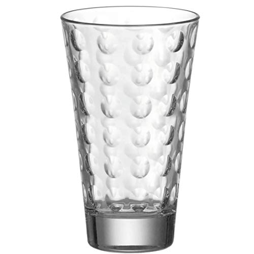 Leonardo Ciao Optic Wasser-Gläser, Trink-Becher aus Glas, spülmaschinengeeignete Saft-Gläser, 6er Set, 300 ml, 012684