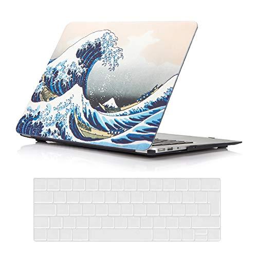 AUSMIX Laptop Hülle für MacBook Air13 Zoll Hülle Plastik Hard Shell Cover & Keyboard Skin Cover Nur kompatibel für MacBook New Air 13 Zoll 2020-2018 ReleaseM1 A2337/ A2179 / A1932,Wellen