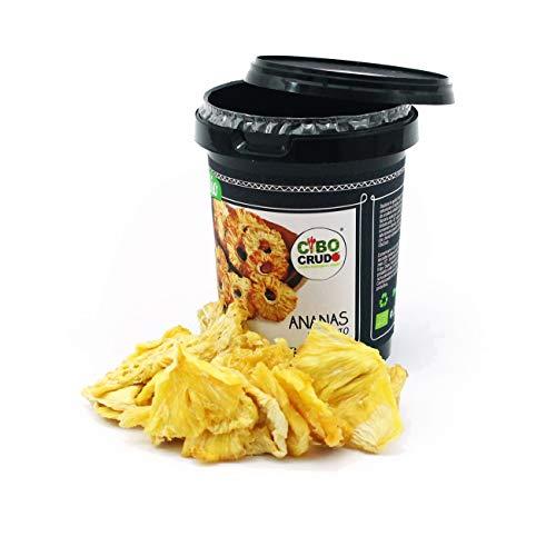 CiboCrudo Ananas Essiccato Biologico Crudo, Raw Organic - 200gr - Ananas a Fette Disidratata Bio, Senza Zucchero, Piantagioni della Tanzania, Etichette in Italiano