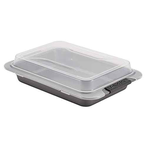 Anolon 52837 Advanced  Nonstick Baking Pan With Lid / Nonstick Cake Pan With Lid, Rectangle - 9 Inch x 13 Inch, Gray