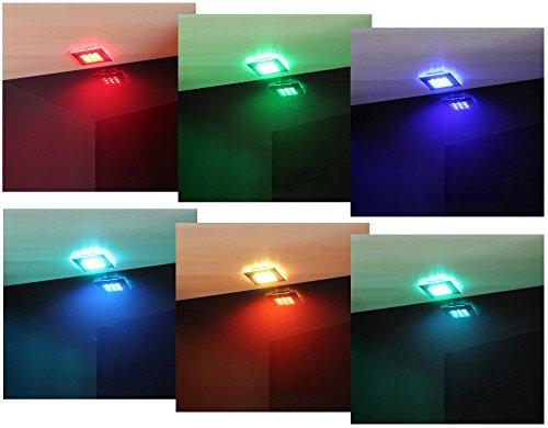 LED RGB Unterbauleuchten 2er Set / Mod. 2118-2 / Möbel- und Vitrinenleuchte Regalbeleuchtung Unterbaustrahler RGB mit Fernbedienung Unterbaustrahler Licht Möbelleuchte Set 2 tlg.
