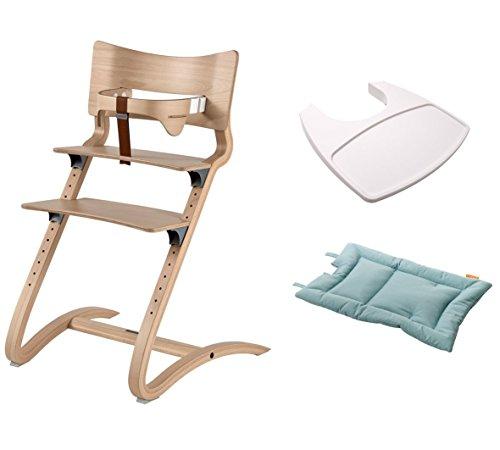 Leander Stuhl natural - Hochstuhl - Kinderstuhl - Erwachsenenstuhl mit Babybügel + Tablett weiß + Kissen misty blue
