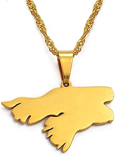 WYDSFWL Collar Tarjeta de Guinea Bissau Colgante y Collar Color Dorado Países africanos Regalos de joyería de Guinea-Bissau