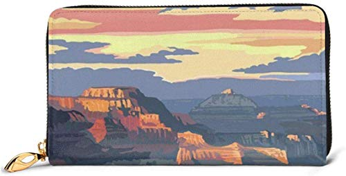 naotaori Damenbrieftasche Grand Canyon National Park - Mather Point Large Capacity Genuine Leather RFID Clutch Wallets Credit Card Holder Organizer Ladies Long Purse for Women