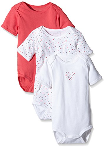 NAME IT Baby-Mädchen NITBODY SS M G NOOS Body, Mehrfarbig (Rouge Red), 98 (3er Pack)