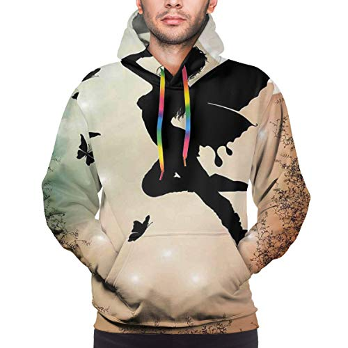 Men's Hoodies 3D Print Pullover Sweatershirt,Black Fairy with Angel Wings Butterflies and Sun Like Alluring Round Light,S