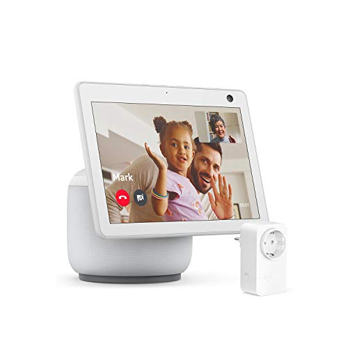 Nuevo Echo Show 10 (3.ª generación), Blanco + Amazon Smart Plug (enchufe inteligente WiFi), compatible con Alexa