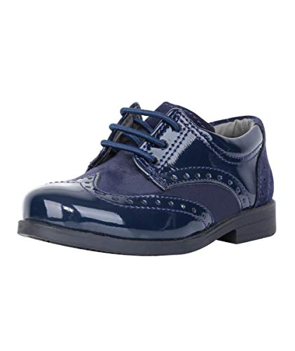 Sanfrancisco Flamingo Jungen Wildleder und Lack SchnürSchuhe in Marineblau Formelle Oxford Brogue Schuhe in Marineblau größe UK Youth 6, EU 39