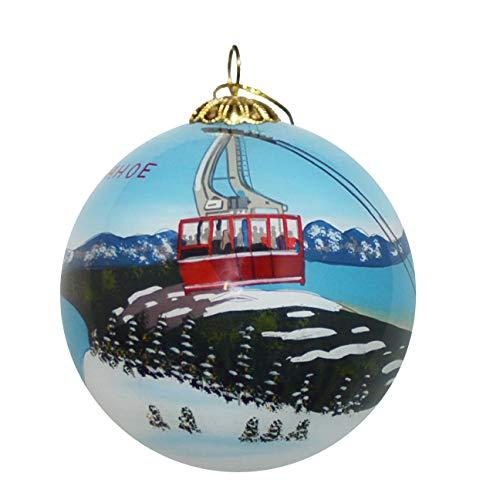 Art Studio Company Hand Painted Glass Christmas Ornament - Lake Tahoe Tram