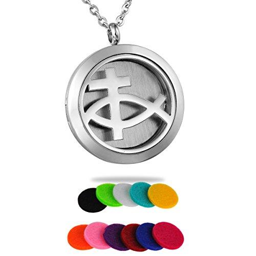 HooAMI Aromatherapy Essential Oil Diffuser Necklace - Christian Fish Cross Locket Pendant
