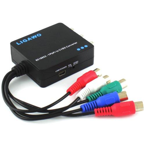 Cinch Konverter für 5x Cinch YpbPr Component zu 3x Cinch CVBS Composite | Komponente zu Composite ( Scart ) AV Konverter
