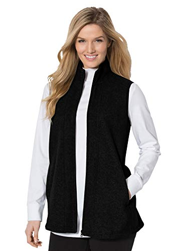 Woman Within Women's Plus Size Zip-Front Microfleece Vest - L, Black