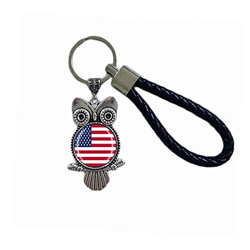 Time Traveler Go America USA Creative Animal Owl Key Ring Backpack Pendant Keychain Gift Bag Decoration Travel Souvenir