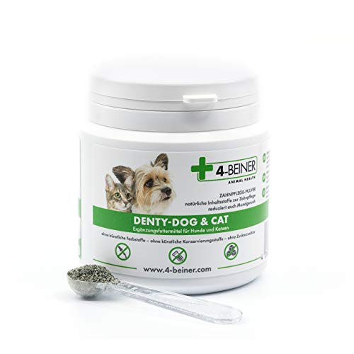 4-BEINER DENTY-Dog & CAT – Zahn-Pflege Pulver für Hunde und Katzen, für die Maulhygiene und gegen Mundgeruch, 90 g Pulver